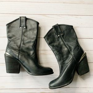 Lucky Brand Elle Pull On Leather Ankle Boots 6
